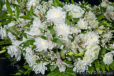 Bouquet of white chrysanthemums for wedding car decoration