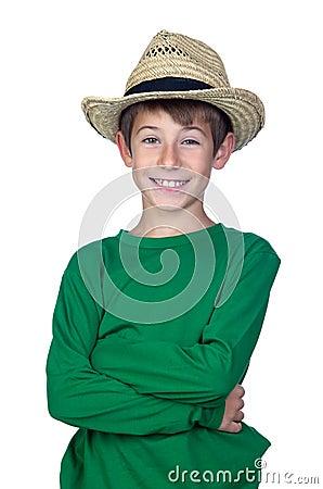 Beautiful boy with straw hat