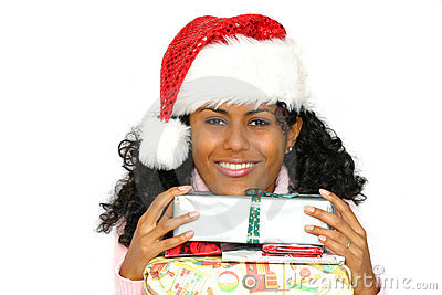 Beautiful brazilian girl with santa hat