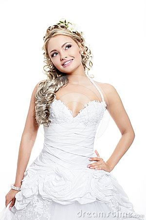 Beautiful bride blond girl in white wedding dress
