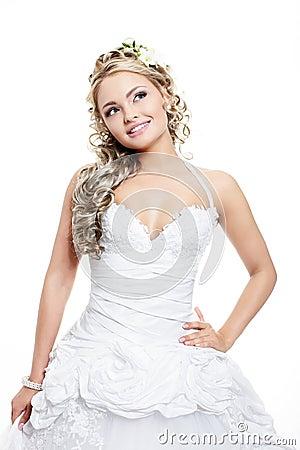 Beautiful bride blond girl in white wedding dress