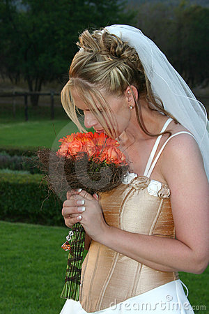 Beautiful bride with bouquet.