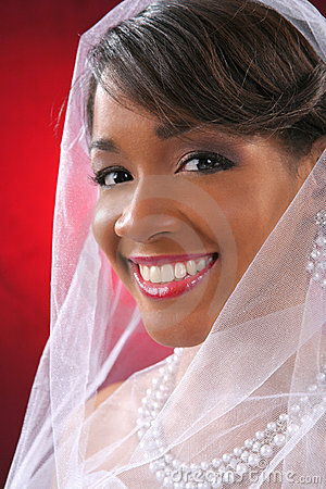 Beautiful Bride Headshot on Red Background