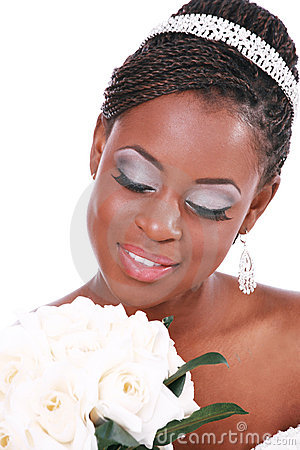 Beautiful Bride Holding Rose Bouquet