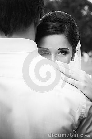 Free Beautiful Bride In Her Wedding Day Looking In Camera From The Ba Royalty Free Stock Photos - 47951878