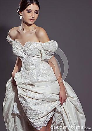 Free Beautiful Bride In Satin Long Dress Stock Photo - 119349380
