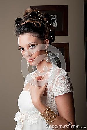 Beautiful bride looking candid