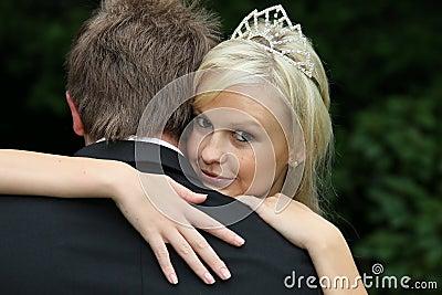 Beautiful Bride Looking Over Husband s Shoulder