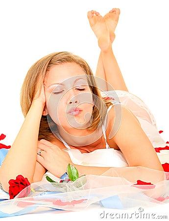 Beautiful Bride Making A Kiss