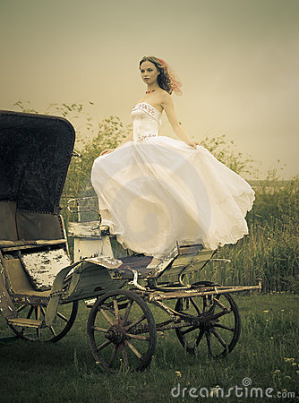 Beautiful bride and old  carriage / retro style