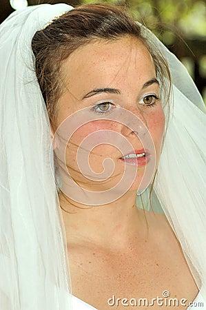 Beautiful bride stressed