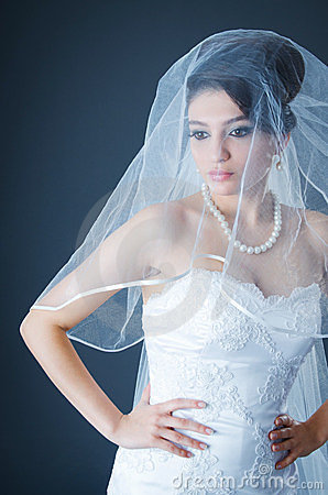Beautiful bride in studio