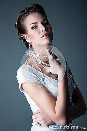 Beautiful bride studio portrait