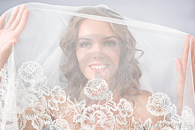 Beautiful bride under veil