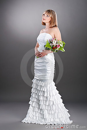 Beautiful bride in the wedding gown