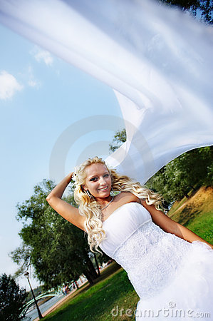 Beautiful bride with white cloth