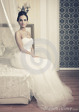 Bangalore Ladies Looking For Men beautiful bride young woman wedding dress sitting bed 49666340