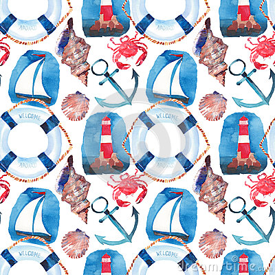 Free Beautiful Bright Colorful Lovely Summer Marine Beach Pattern Of Lifebuoy, Blue Anchor, Red White Seamark, Red Crabs, Pastel Cute S Stock Image - 93339481