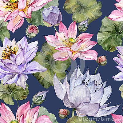 Free Beautiful Bright Floral Seamless Pattern. Purple And Pink Lotus Flowers With Bid Leaves On Dark Blue Background. Stock Images - 113456044