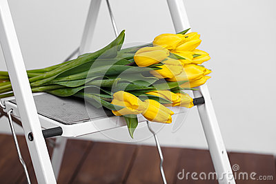 Beautiful bright yellow tulips More lying on sofa white stairs