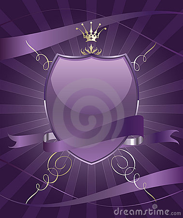 Beautiful brightly party shield emblem with ribbon