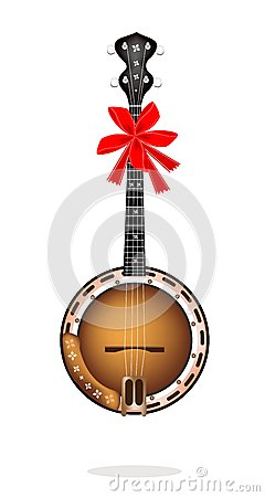 Beautiful Brown Banjo with Red Ribbon