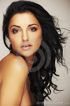 Beautiful brunett model in studio