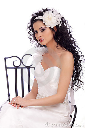 Beautiful Brunette Bride with long curly hair