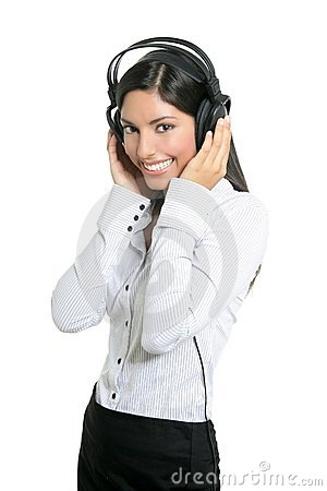 Beautiful brunette businesswoman hearing music