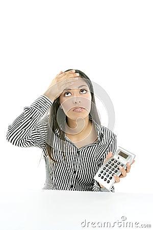 Beautiful brunette businesswoman sad about stats