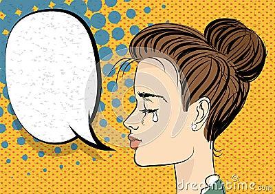 Beautiful brunette girl style pop art crying Vector Illustration