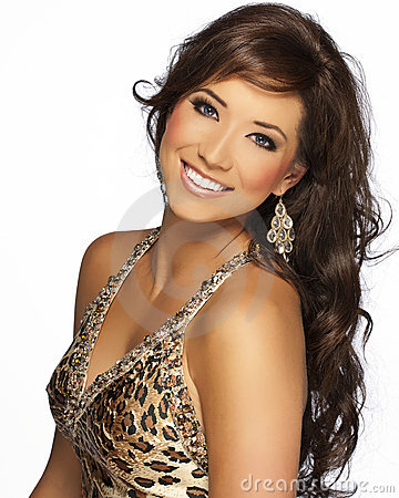 Beautiful Brunette Hair Model with Cheetah Dress