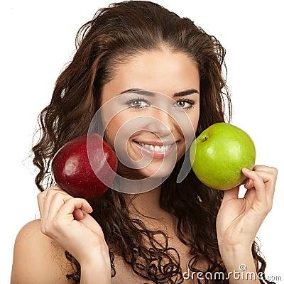 Free Beautiful Brunette Holding Apples Stock Image - 32654231