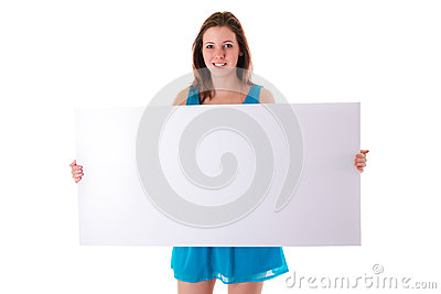 Beautiful brunette holding empty white board