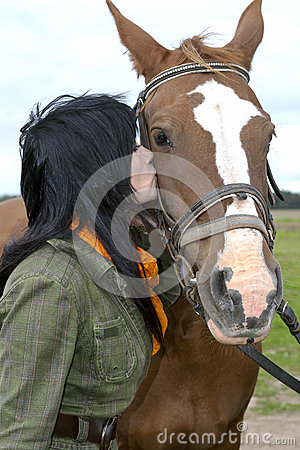 Beautiful brunette with horse