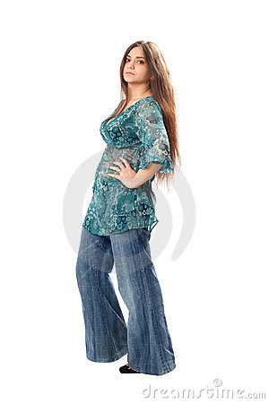 Free Beautiful Brunette In Hippy Jeans Royalty Free Stock Images - 13183389