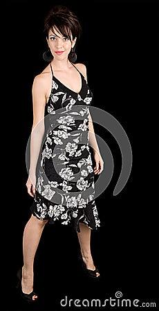 Beautiful Brunette Lady Posing in a Black Dress