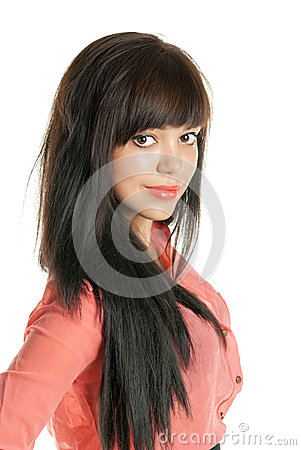 Beautiful brunette looking at the camera, closeup