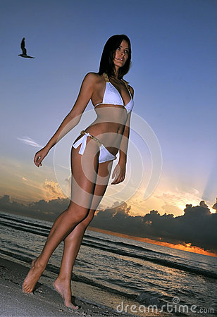 Beautiful brunette model posing on the ocean coast at sunrise