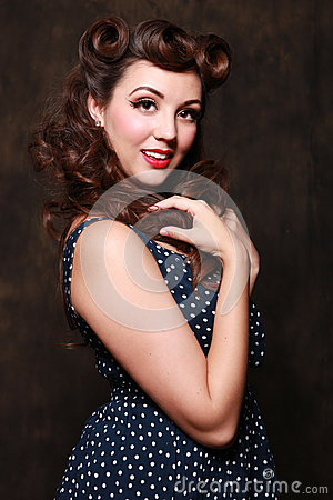 Beautiful Brunette  Pin Up Style Girl in Studio
