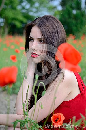 Beautiful Brunette With Poppies Stock Photo Image 58475010