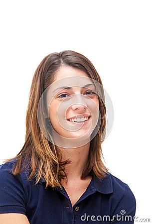 Beautiful brunette portrait isolated on white