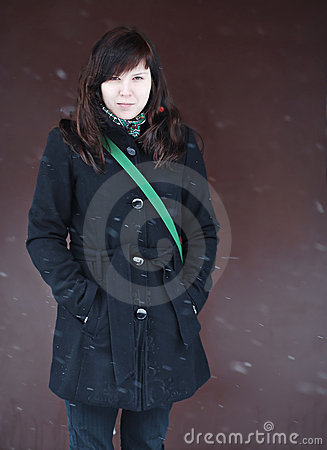 Beautiful Brunette Student In Snowfall