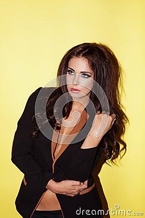 Beautiful brunette in stylish jacket