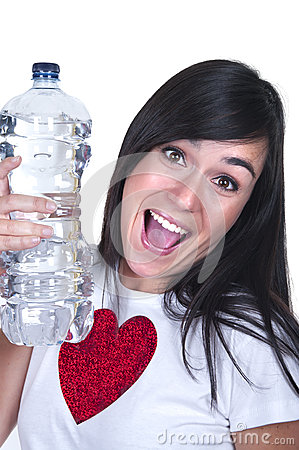 Beautiful brunette with a water bottle