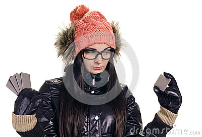 Stylish girl with credit card
