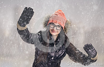 Brunette in snowstorm