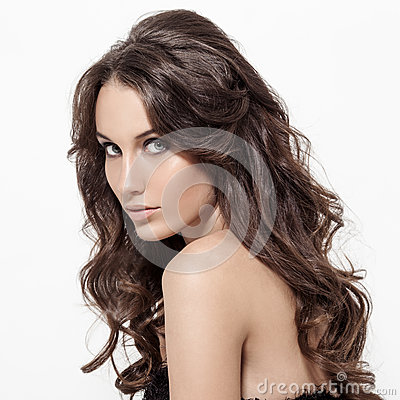 Beautiful Brunette Woman. Curly Long Hair. Royalty Free Stock Photo ...