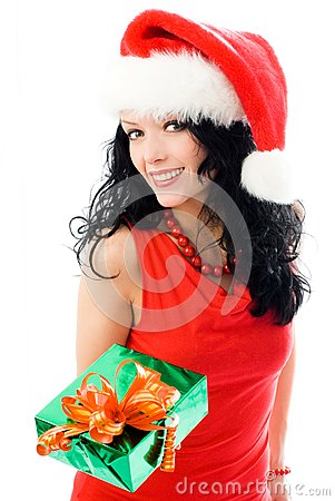 Beautiful brunette woman gives a present to us