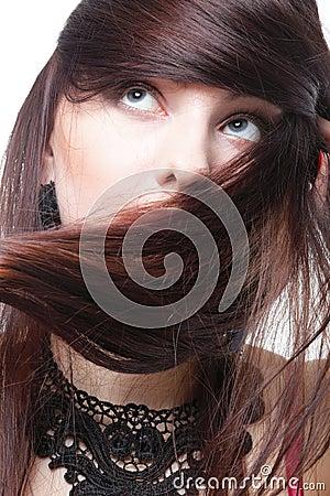 Beautiful brunette woman long hair